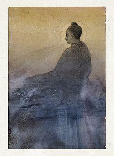 The victory of Buddha ~ Abanindranath Tagore. Dit schilderij spreekt mij aan door het kleur gebruik en het licht donker contrast, verder vind ik dit schilderij erg mooi met het detail dat er in zit.
