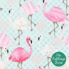 Timeless Treasures - Pink Flamingo - Pink Flamingos on Dots - Aqua - Fabric by the Yard Flamingo Fabric, Aqua Fabric, Flamingo Bird, Pink Flamingos, Flamingo Dress, Flamingo Party, Cotton Fabric, Bird Curtains, Leaf Animals