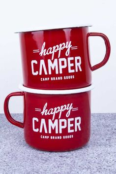 CBG ENAMELWARE // (SET OF 2) RED HAPPY CAMPER MUG | Camp Brand Goods