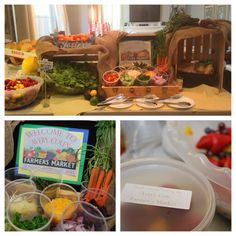 Farmer's market salad bar at the SF themed baby shower.  The market was named after the baby, Avery Cole!  Labels were printed and placed on to-go containers so guests can bring a salad home at the end of the shower.