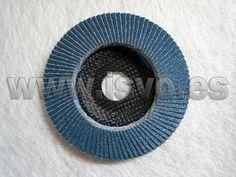 Disco de láminas cónico para Inox con soporte en fibra Stayer® ref.: 9.271 Z60 Ø115x22,2mm – Doble capa de material abrasivo de zirconio. www.jsvo.es