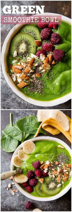 Easy, thick, healthy, and satisfying green smoothie bowl! For extra richness and staying power, sometimes I blend in 1/2 avocado!