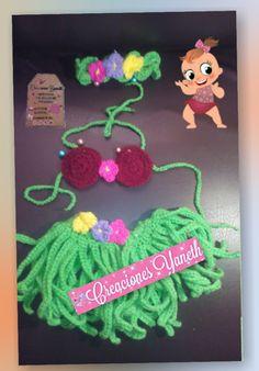 Set de hawaiana. 100% tejido a mano crochet