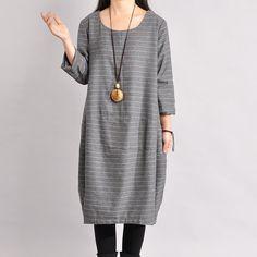 Women Cotton Linen Dress Loose Dress Autumn Dress 3/4 Sleeve Dress Large Size Dress