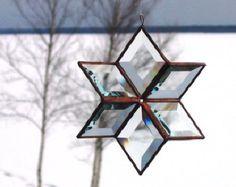 Stained Glass Scrap Wishing Star Suncatcher by RedfordGlassStudio