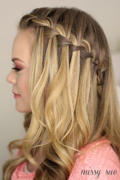 Check Out Our , Tutorial Waterfall Braid Half Updo Hairstyles, Half Updo Wedding Hairstyles Long Hair – Gegehe, Braided Half Updo Hairstyles. French Braid Hairstyles, Spring Hairstyles, Down Hairstyles, Pretty Hairstyles, Girl Hairstyles, Hairstyle Ideas, Wedding Hairstyles, French Braids, Simple Hairstyles