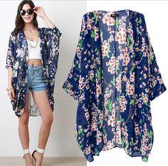 Cheap Floral  Chiffon Poncho - Best 2014summer Top Women Floral Print Chiffon Kimono Cardigan Online with $16.24/Piece | DHgate