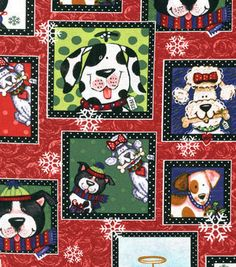 Holiday Inspirations Christmas Fabric Snow Dogs Patch Red