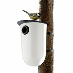 The Eva Solo nesting box has been designed as a way of supplementing the shortfall in natural hollows. You can do your bit for the environment right in your own backyard. This bird box is made of w. Contemporary Birdhouses, Modern Birdhouses, Bird House Feeder, Bird Feeders, Bird Nesting Box, Bird Boxes, Grand Designs, Backyard Birds, Nordic Design