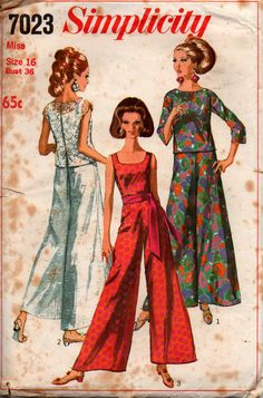 Simplicity 7023 vintage sewing pattern, dated 1967.  Misses One-Piece Jumpsuit and Overblouse: The sleeveless and collarless jumpsuit has low round neckline, back zipper and back soft pleat. Overblouse V. 1 and 2 have scoop neckline and dropped shoulder line. Overblouse V. 1 has below elbow-length set-in sleeves and back separating zipper. Sleeveless, lined contrasting overblouse V. 2 has hook and loop back closing with bow trim. V. 3 may be worn with purchased sash. Size 16:  Bust 36…