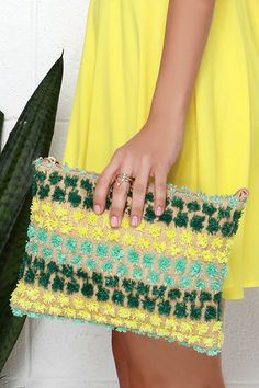 festive yellow and teal clutch for summer