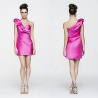 Elegant Lady One Shoulder Cocktail Dresses Straight Ruched Color Ivory And Pink Woman Cocktail Party Turn-Down Ruffles Dresses