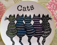 Hand painted plate - size 10 inches in diameter- Cats- dinner plate -Ceramic hand painted plates.