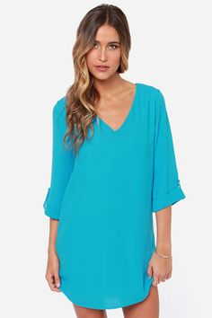 By All Means Blue Shift Dress at LuLus.com!