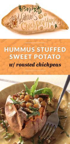 Hummus Stuffed Sweet Potato With Roasted Chickpeas