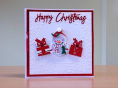 Christmas Card, Handmade - Snowman embellishment. For more of my cards please visit CraftyCardStudio on Etsy.com.