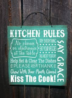 kitchen rules sign, kitchen decor, kitchen sign, dinner rules, gift for chef, family kitchen, Christmas gift by FarmhouseChicSigns on Etsy https://www.etsy.com/listing/209200089/kitchen-rules-sign-kitchen-decor-kitchen