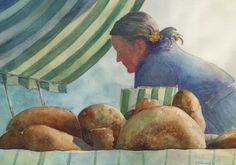 At the Market, Original Watercolor, Louise O'Donnell