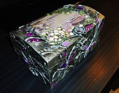 Hand decorated silver jewelry box by flowerdeco on Etsy, $65.00