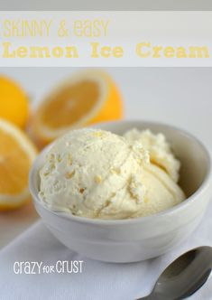 Skinny & Easy Lemon Ice Cream: 1 can fat-free sweetened condensed milk ounces) 1 container fat-free Cool Whip ounces) 1 large lemon, zested and juiced (or two smaller, mine was a huge Meyer lemon) teaspoon lemon extract. No ice cream maker required! Köstliche Desserts, Frozen Desserts, Frozen Treats, Dessert Recipes, Easy Ice Cream Recipe, Homemade Ice Cream, Ice Cream Recipes, Lime Recipes, Gelato