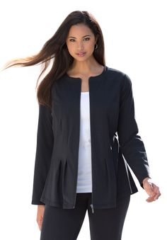 "Plus Size Peplum Active Jacket  -  casual, sporty.  black jacket with shaping seams and pleats.  zip front, stretch fabric.  30"" long.  want.     lj"