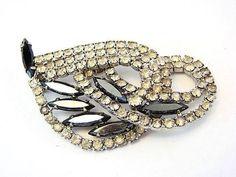 Vintage Huge All Black and White Rhinestones Bridal Brooch Pin P001 #vintage #jewelry