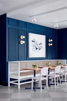 This Melbourne café is inspired by Kate Middleton: The deep blue walls suggest a nod to Kate's engagement dress.