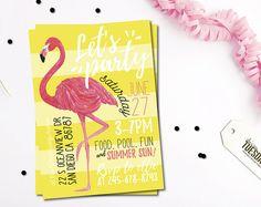 Flamingo uitnodiging - Flamingo Pool Party uitnodiging - een uitnodiging voor zomer feest - Pool Party uitnodiging - afdrukbare uitnodiging - geel
