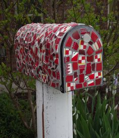 Broken China Mosaic Mailbox - RED Mail Box - One of a Kind Statement Mailbox - RESERVED