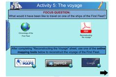 """This terrific IWB resource has been designed to support the teaching of the Unit of Work """"First Fleet"""""""" developed by the History Teachers' Association of Australia. Students will develop historical inquiry skills by investigating historical sources relating to the First Fleet. Students examine primary and secondary historical sources to develop an understanding of the First Fleet. https://www.interactivelessons.com.au/"""