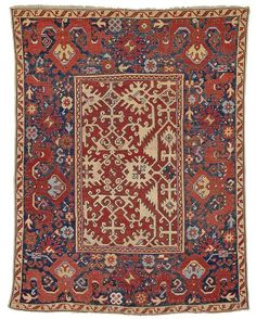 "Turkish Ushak ""Lotto rug"" with cloud band border, West Anatolia, ct. 153 x 114 cm"