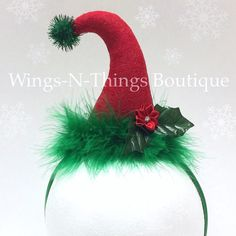 Christmas Elf Mini Hat Headband, Costume Accessory This adorable handmade CHRISTMAS ELF mini hat headband is adorned with a sparkly green pom pom. The glittery red felt hat is an amazing tall. Christmas Scenes, Christmas Hat, Christmas Costumes, All Things Christmas, Handmade Christmas, Christmas Crafts, Christmas Ornaments, Christmas Headbands, Etsy Christmas