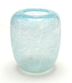 Lightblue glass vase Aquavera with internal decoration of trapped airbulbs design W.J.Rozendaal 1938 executed by Kristalunie Maastricht / the Netherlands