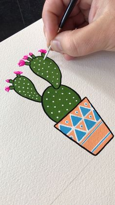 Prickly Pear Gouache Painting by Philip Boelter - Kunst Ideen - Zen Out and pick up the signed art print by Philip Boelter for your wall decor. See all the artwork - Gouache Painting, Painting & Drawing, Painting Videos, Drawing On Wall, Contour Drawing, Sign Painting, Cool Art Drawings, Drawing Drawing, Painting For Kids