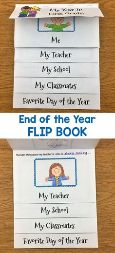 Have your students make this cute End of the Year flip book to help them remember their year in your classroom.  When completed, this fun book will include a page about themselves, their teacher, their school, their classmates, and their favorite part of the year!  I have included cover pages for Preschool, Kindergarten, First Grade, and Second Grade.  This book makes a wonderful keepsake for parents.
