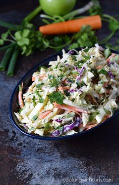 Sweet, tangy, and crunchy Apple Coleslaw is perfect on barbecue chicken or pork sandwiches.