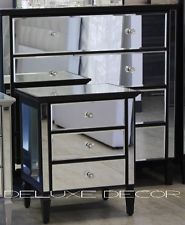 Lucia Black Gl Bedside Table With 3 Drawers Main Bedroom