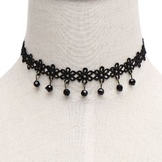 Yoins Crystal Pendant Crochet Flower Choker Necklace ($4.04) ❤ liked on Polyvore featuring jewelry, necklaces, accessories, black, crochet choker necklace, pendant necklace, crystal necklace, flower choker necklace and crochet necklace