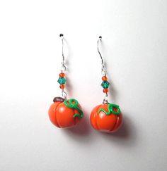 Pumpkin Dangle Earrings by adcdmc on Etsy,