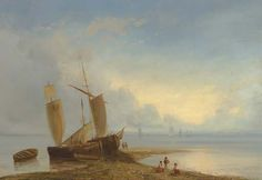 Lev Lagorio - Ships moored at low Tide (1883)