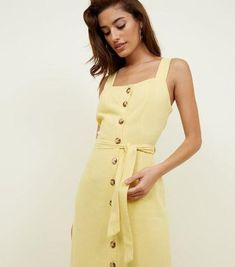 c5c3f28fe7a Yellow Belted Button Front Midi Dress