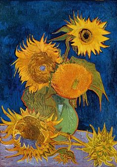 1888 - Still Life: Vase with Five Sunflowers, Vincent van Gogh. Destroyed by fire in the Second World War in Japan