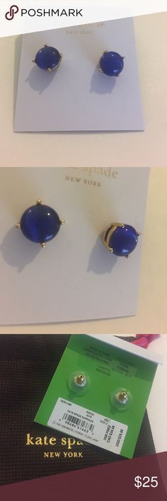 "Kate Spade Stud Earrings Comes with Kate Spade Dust Bag Approx. diameter: 3/8"". Metal:Gold plated base Material:Crystal.                                                           Color: Blue.                                                                     💖 kate spade Jewelry Earrings"