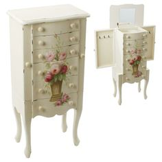 Beautiful wooden #drawer in antique ivory color and pink flowers www.inart.com