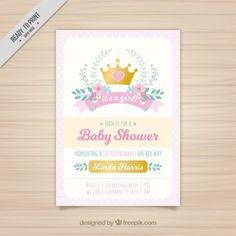 プリンセスクラウンとピンクのベビーシャワーの招待状