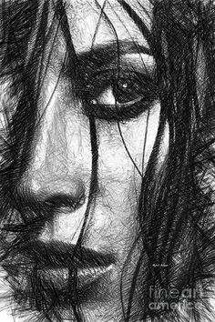 Woman Sketch In Black And White Digital Art by Rafael Salazar Dark Art Drawings, Pencil Art Drawings, Realistic Drawings, Art Drawings Sketches, L'art Du Portrait, Portrait Sketches, Pencil Portrait, Arte Dope, Charcoal Sketch