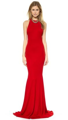Red full length halter style dress.  #red #dress