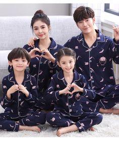 Autumn parent-child pajamas family dress, cotton l.