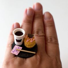 Kawaii Miniature Food Ring  Coffee with by fingerfooddelight, $12.00