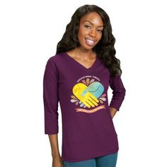 """Feel comfortable all day long in this Ladies """"Occupational Therapy – We Lend a Helping Hand"""" ¾ Sleeve V-Neck Tee!"""